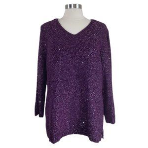 CHICO'S Shine V-neck Long Sleeve Pullover Sweater,